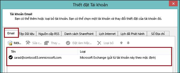 Loại tài khoản trong Outlook