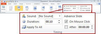 Nhóm Đặt thời gian trên tab Chuyển tiếp trong ribbon PowerPoint 2010.