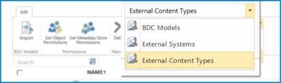 Ảnh chụp màn hình lựa chọn chế độ xem cho các chế độ xem danh mục dữ liệu BCS.