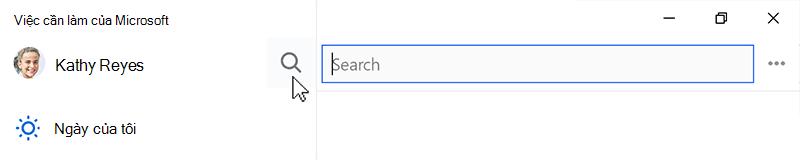 Ảnh chụp màn hình hiển thị biểu tượng tìm kiếm được chọn và trường tìm kiếm mở