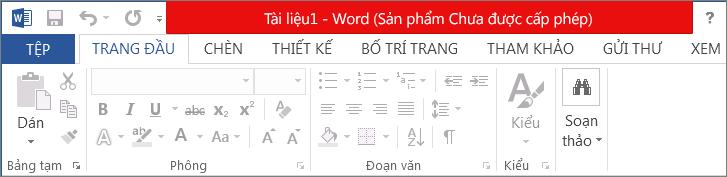 Hiển thị Sản phẩm Chưa được cấp phép trong thanh tiêu đề màu đỏ, giao diện bị vô hiệu và biểu ngữ thông báo