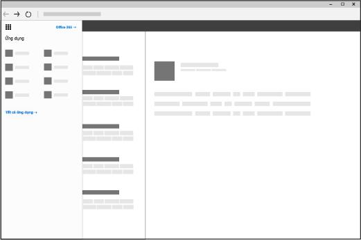 Cửa sổ trình duyệt hiển thị công cụ khởi động ứng dụng Office 365 đang mở