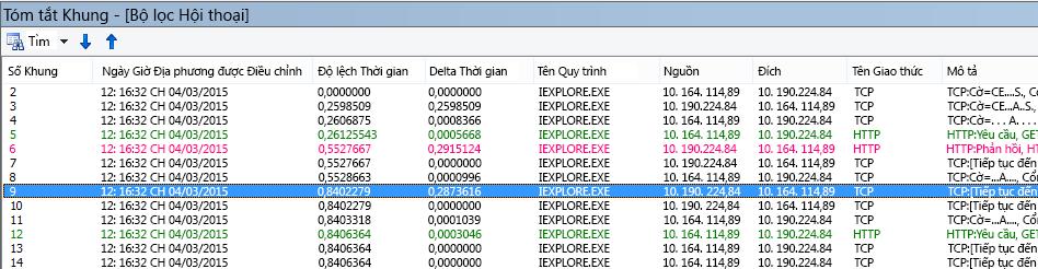 Độ trễ chung trong Netmon, với cột Delta Thời gian mặc định của Netmon được thêm vào Tóm tắt Khung.