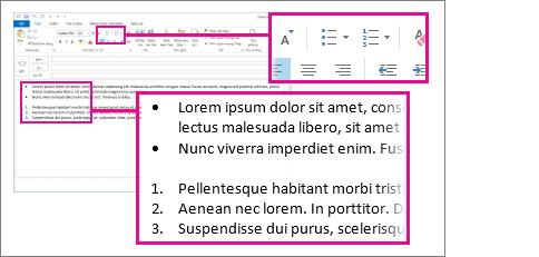 Các ví dụ về danh sách số và dấu đầu dòng trong một bức thư