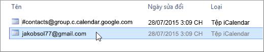 Chọn tệp kết thúc bằng gmail.com để nhập.