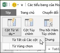 Các cột kết hợp Power Query với tùy chọn ví dụ trên tab Thêm cột