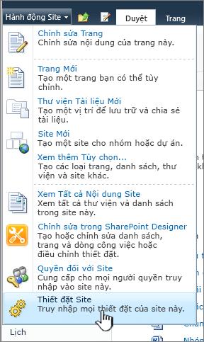 Thiết đặt site trên menu hành động site