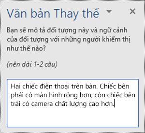 Ngăn văn bản thay thế có ví dụ về văn bản thay thế trong Word cho Windows.