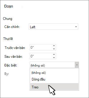 Chọn định danh Treo đầu lề