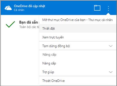 Trung tâm hoạt động đồng bộ OneDrive Các cài đặt khác