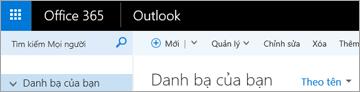 Giao diện của dải băng khi bạn có Outlook trên web.