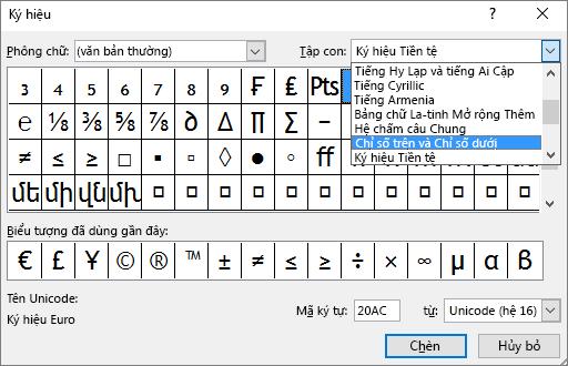 Hiển thị tập con Chỉ số dưới và Chỉ số trên trong hộp thoại Biểu tượng trong PowerPoint