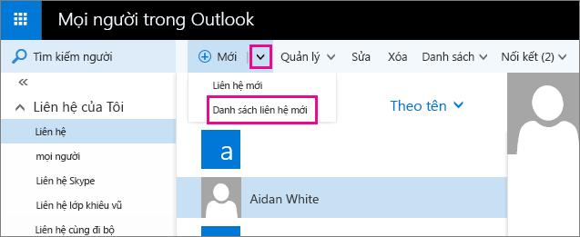"""Ảnh chụp màn hình cho thấy một phần của thanh công cụ trên trang Mọi người Outlook. Ảnh chụp màn hình cho thấy tuỳ chọn """"Danh sách liên hệ mới"""" trong menu thả xuống """"Mới""""."""