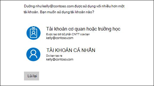 Màn hình đăng nhập bằng hai địa chỉ email