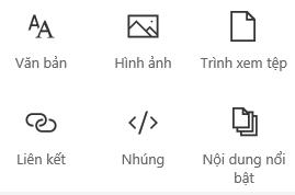 Ảnh chụp màn menu Phần web trong SharePoint.