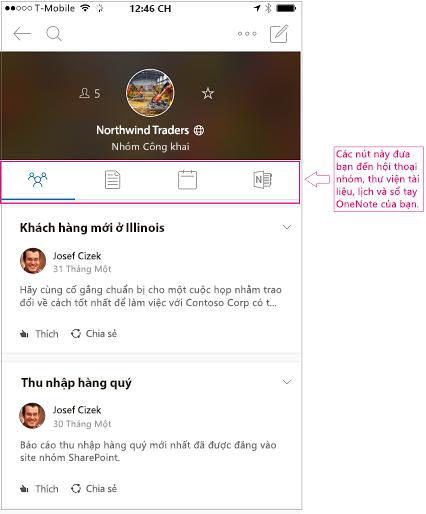 Dạng xem hội thoại nhóm trong Outlook nhóm ứng dụng di động