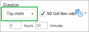 Thời lượng tùy chỉnh của FindTime