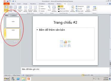 Ngăn chứa tab Đại cương và tab Trang chiếu
