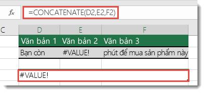 Lỗi #VALUE! trong hàm CONCATENATE