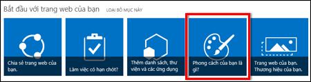 Site được tạo mới trong SharePoint online hiển thị các ô có thể bấm vào để tùy chỉnh thêm cho site