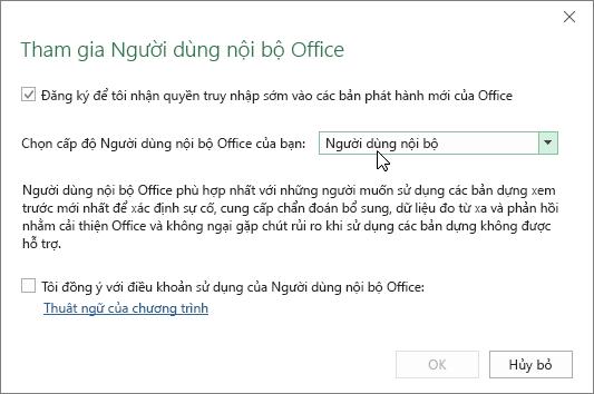 Hộp thoại Tham gia Người dùng nội bộ Office với tùy chọn cấp độ Người dùng nội bộ