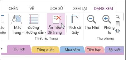 Xem hoặc ẩn tiêu đề trang với nút Ẩn Tiêu đề Trang.