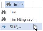 Đi đến tùy chọn trên menu Tìm