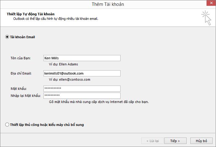 Sử dụng tính năng Thiết lập Tài khoản Tự động để thêm tài khoản email như một phần của hồ sơ mới được tạo cho Outlook