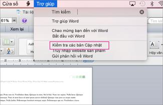 Ảnh chụp màn hình menu Office cho mac