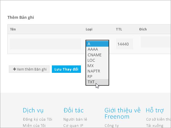 Kiểu Freenom thêm bản ghi TXT