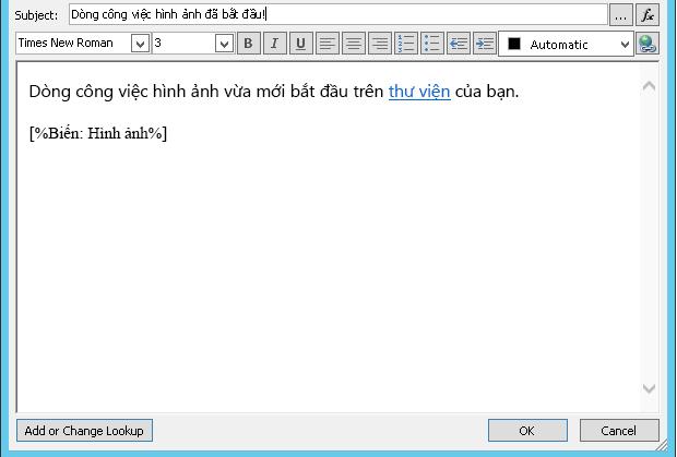 Nội dung thư email quy trình với hình ảnh