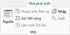 Lệnh XML trên tab Nhà phát triển