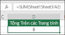 Sum 3D - Công thức ở ô D2 là =SUM(Sheet1:Sheet3!A2)