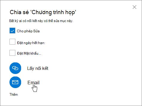 Ảnh chụp màn hình hoạt động chọn Email trong hộp thoại Chia sẻ trong OneDrive