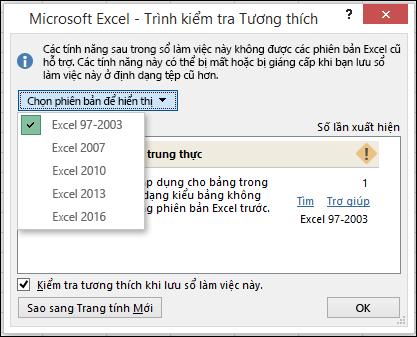 Hộp thoại bộ kiểm tra tương thích trong Excel