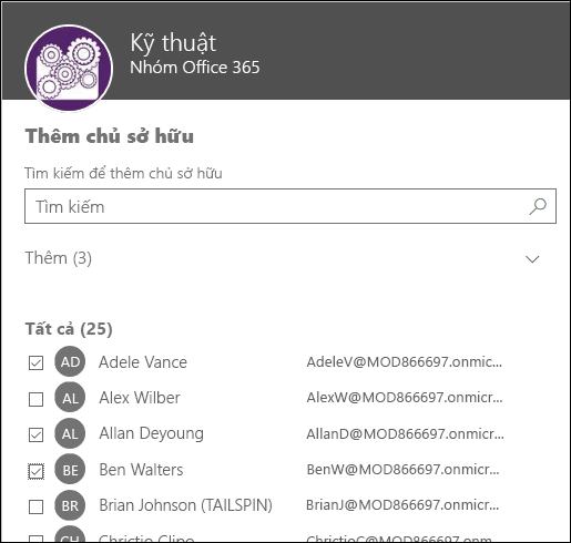 Dùng hộp thoại này để chọn tối đa 10 người sở hữu để quản lý nhóm của bạn