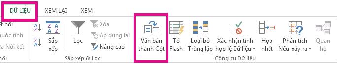 """Biểu tượng """"Văn bản thành Cột"""" nằm trên tab Dữ liệu."""
