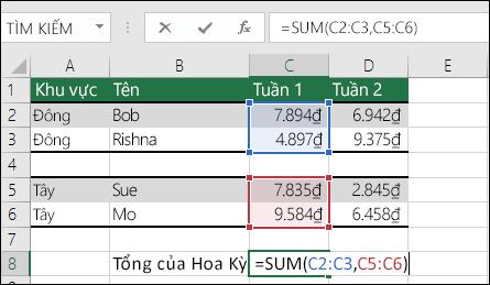 Sử dụng hàm SUM với phạm vi không liền kề.  Công thức ở ô C8 là =SUM(C2:C3,C5:C6). Bạn cũng có thể sử dụng Phạm vi có Tên, vì vậy, công thức sẽ là =SUM(Week1,Week2).