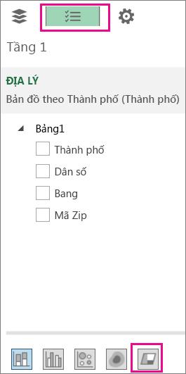 Biểu tượng biểu đồ Vùng trên tab Danh sách Trường
