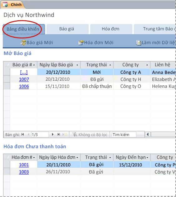 Tab Bảng điều khiển trong mẫu cơ sở dữ liệu Dịch vụ
