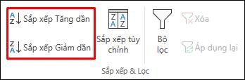 Các nút Sắp xếp Tăng dần hoặc Giảm dần của Excel trên tab Dữ liệu
