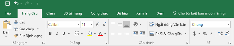 Tất cả các tab và lệnh đều được hiển thị trên Dải băng.