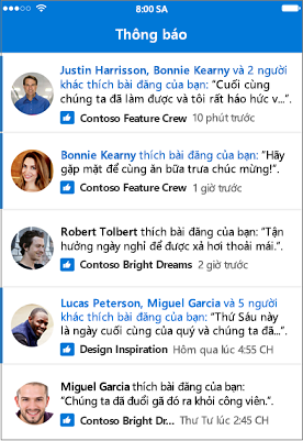 Thông báo trong Outlook Groups Mobile