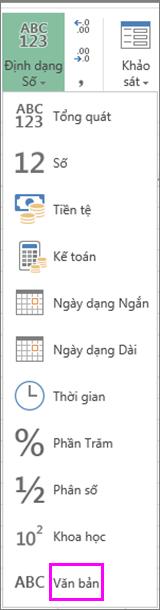 Định dạng văn bản cho các số