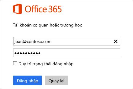 Ảnh chụp màn hình ngăn đăng nhập Office 365