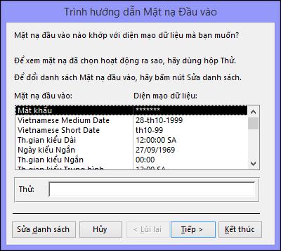 Trình hướng dẫn Dấu hiệu Nhập trong cơ sở dữ liệu Access trên máy tính