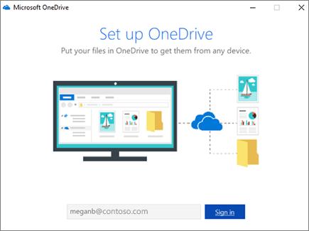 Màn hình thiết lập OneDrive