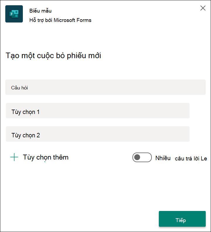 Kết quả cuộc bỏ phiếu biểu mẫu nhanh trong Microsoft nhóm