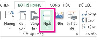 Bấm Ngắt trên tab Bố trí Trang