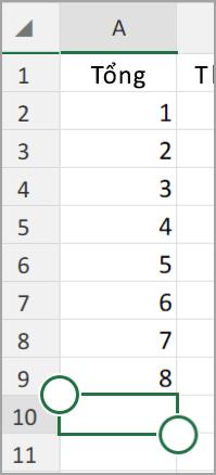 Tính năng tự động tính tổng Android của Excel Tablet